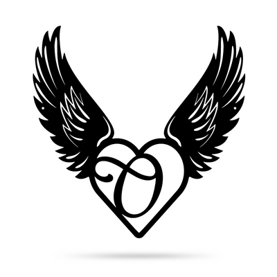 "Heart with Angel Wings Monogram 18"" X 18"" / Black / O - RealSteel Center"