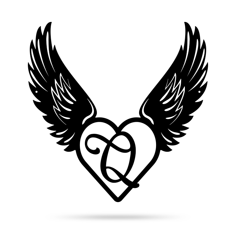 "Heart with Angel Wings Monogram 18"" X 18"" / Black / Q - RealSteel Center"