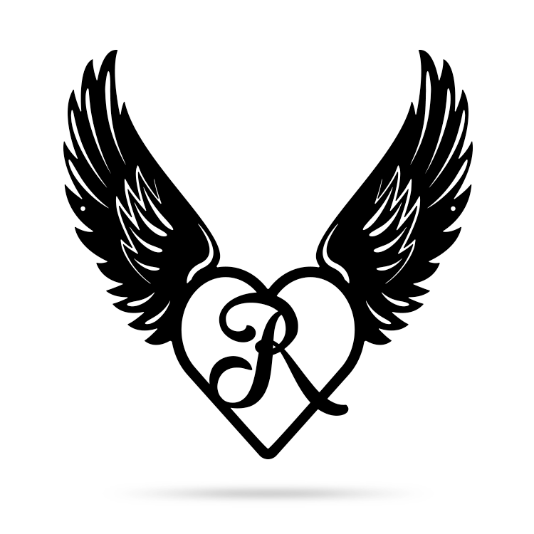 "Heart with Angel Wings Monogram 18"" X 18"" / Black / R - RealSteel Center"