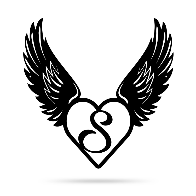 "Heart with Angel Wings Monogram 18"" X 18"" / Black / S - RealSteel Center"
