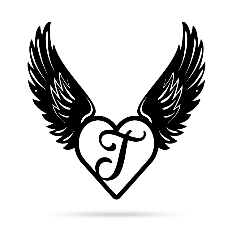 "Heart with Angel Wings Monogram 18"" X 18"" / Black / T - RealSteel Center"