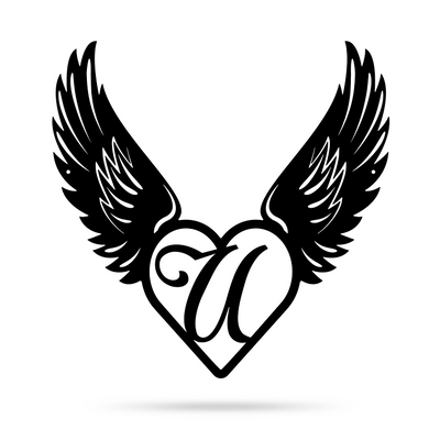 "Heart with Angel Wings Monogram 18"" X 18"" / Black / U - RealSteel Center"