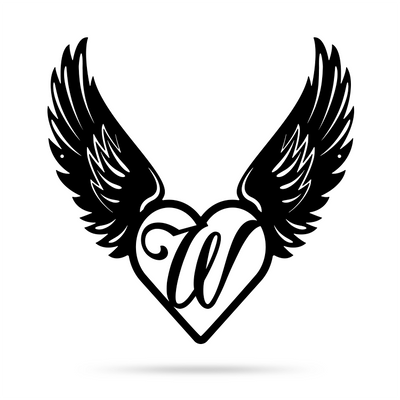 "Heart with Angel Wings Monogram 18"" X 18"" / Black / W - RealSteel Center"