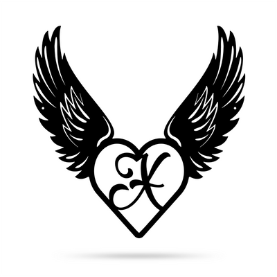 "Heart with Angel Wings Monogram 18"" X 18"" / Black / X - RealSteel Center"