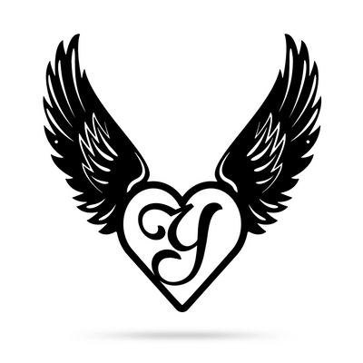 "Heart with Angel Wings Monogram 18"" X 18"" / Black / Y - RealSteel Center"