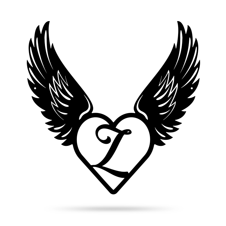 "Heart with Angel Wings Monogram 18"" X 18"" / Black / Z - RealSteel Center"