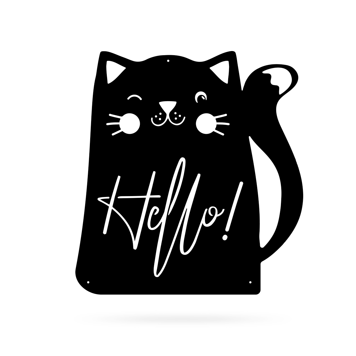 "Hello Cat Wall Art 18"" / Black - RealSteel Center"