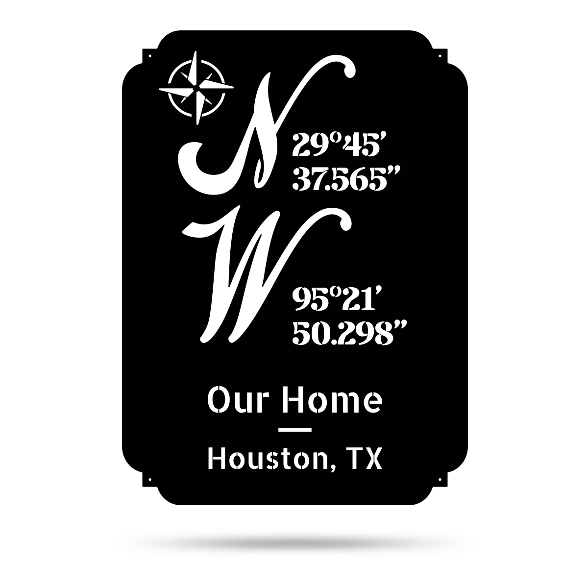"Home Coordinates Monogram 22""x16"" / Black - RealSteel Center"
