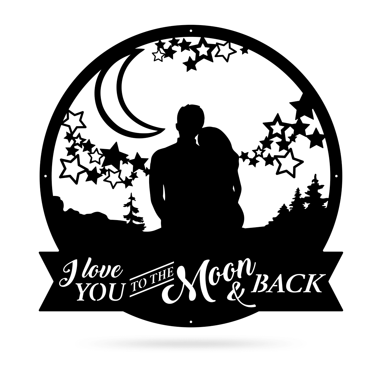 "Love You To The Moon Wall Art 18"" / Black - RealSteel Center"
