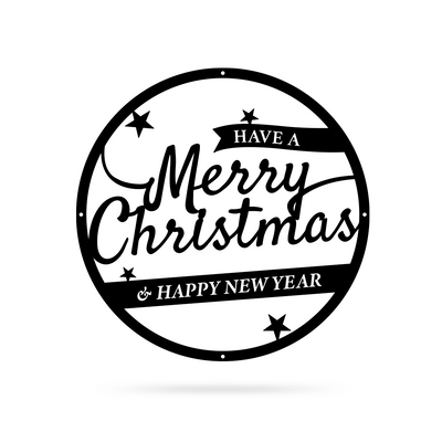 "Merry Christmas Holiday Steel Sign 16"" / Black / Have a Merry Christmas & Happy New Year - RealSteel Center"