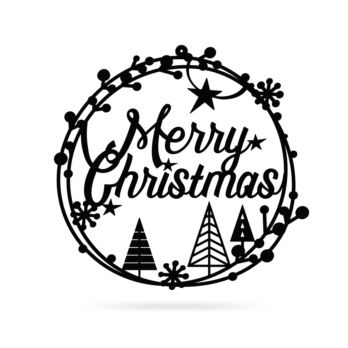 "Merry Christmas Holiday Steel Sign 16"" / Black / Merry Christmas Holiday Steel Sign - RealSteel Center"