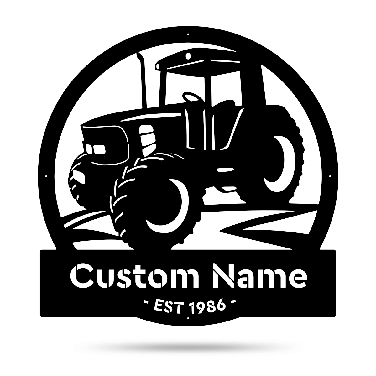 "Modern Tractor Monogram 18"" / Black - RealSteel Center"