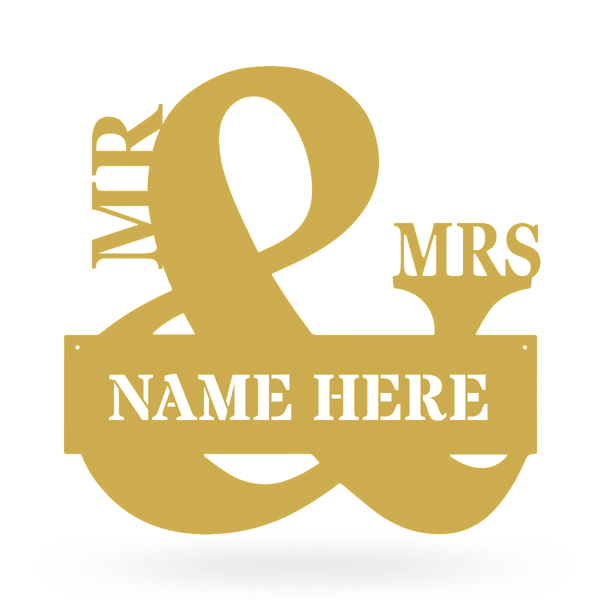 "Mr & Mrs Monogram 20""x20"" / Gold - RealSteel Center"