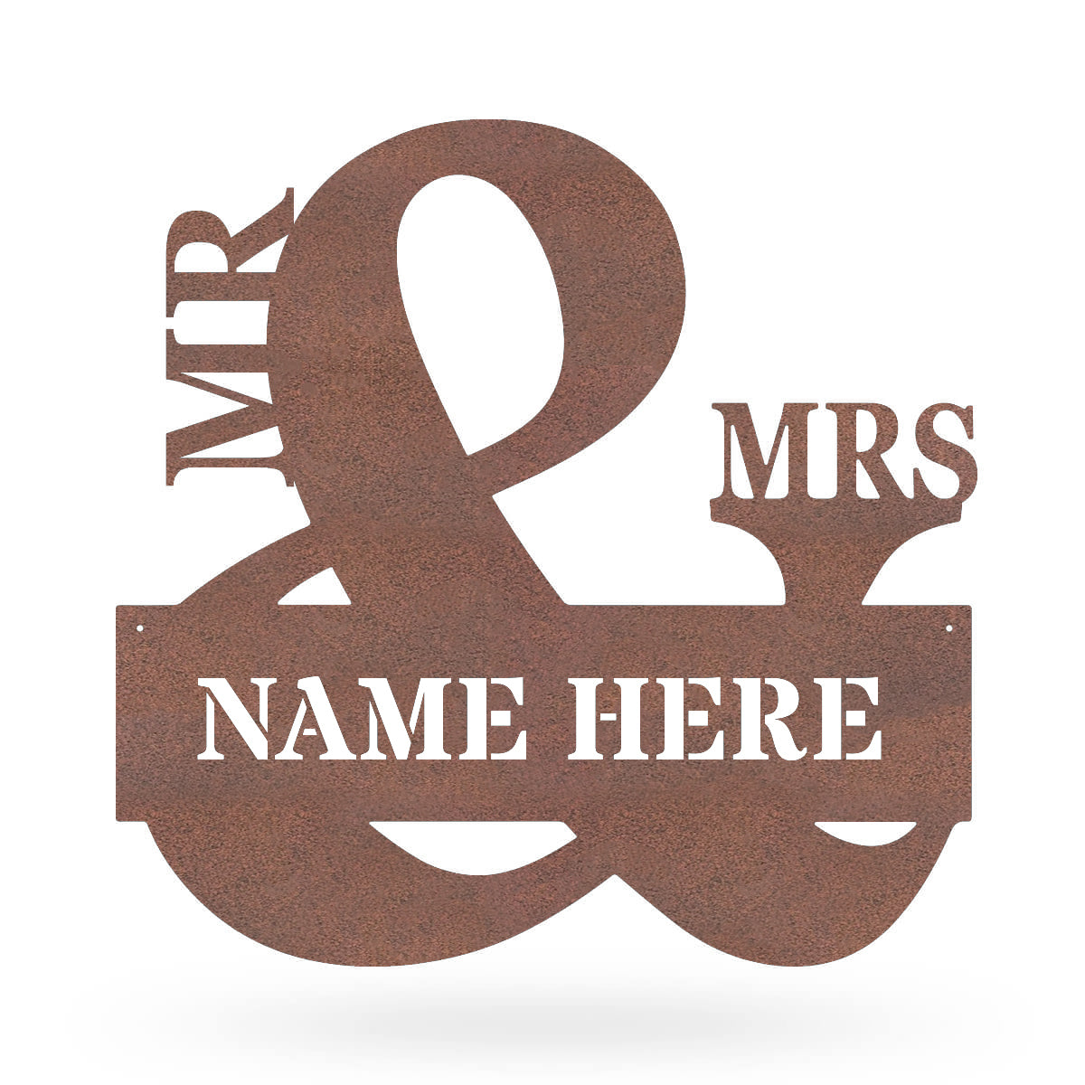 "Mr & Mrs Monogram 20""x20"" / Rust - RealSteel Center"