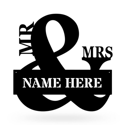 "Mr & Mrs Monogram 20""x20"" / Black - RealSteel Center"
