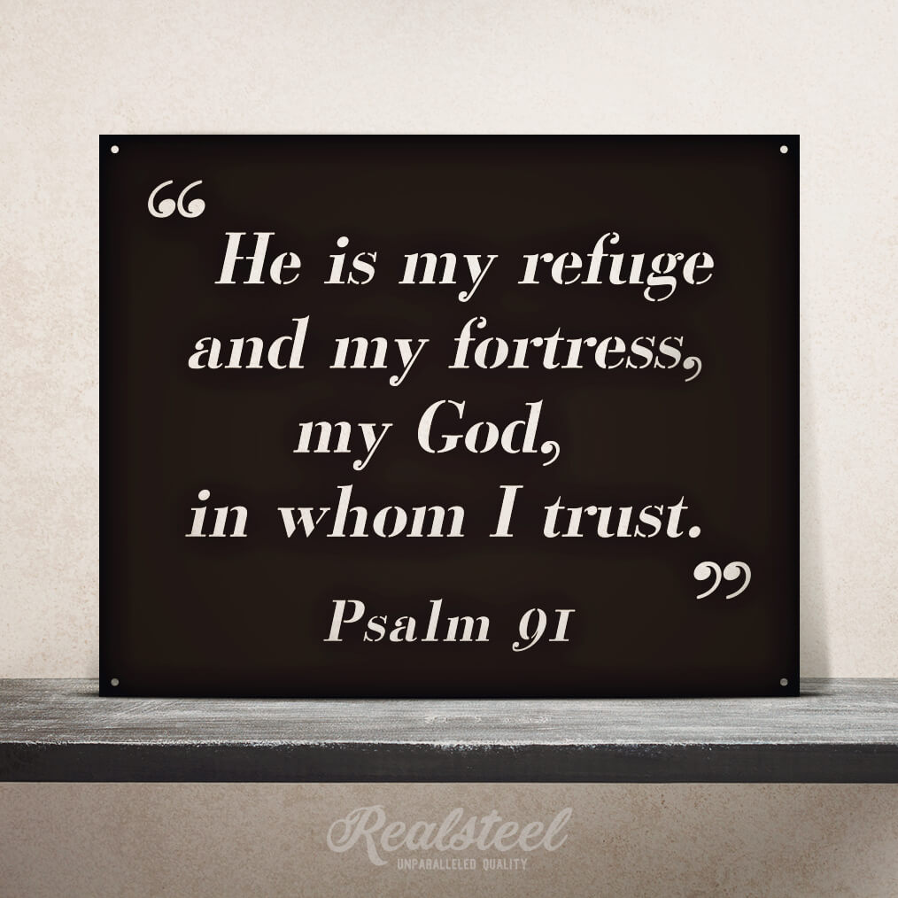 "Psalm 91 Quote Wall Sign 20""x16"" / Black - RealSteel Center"