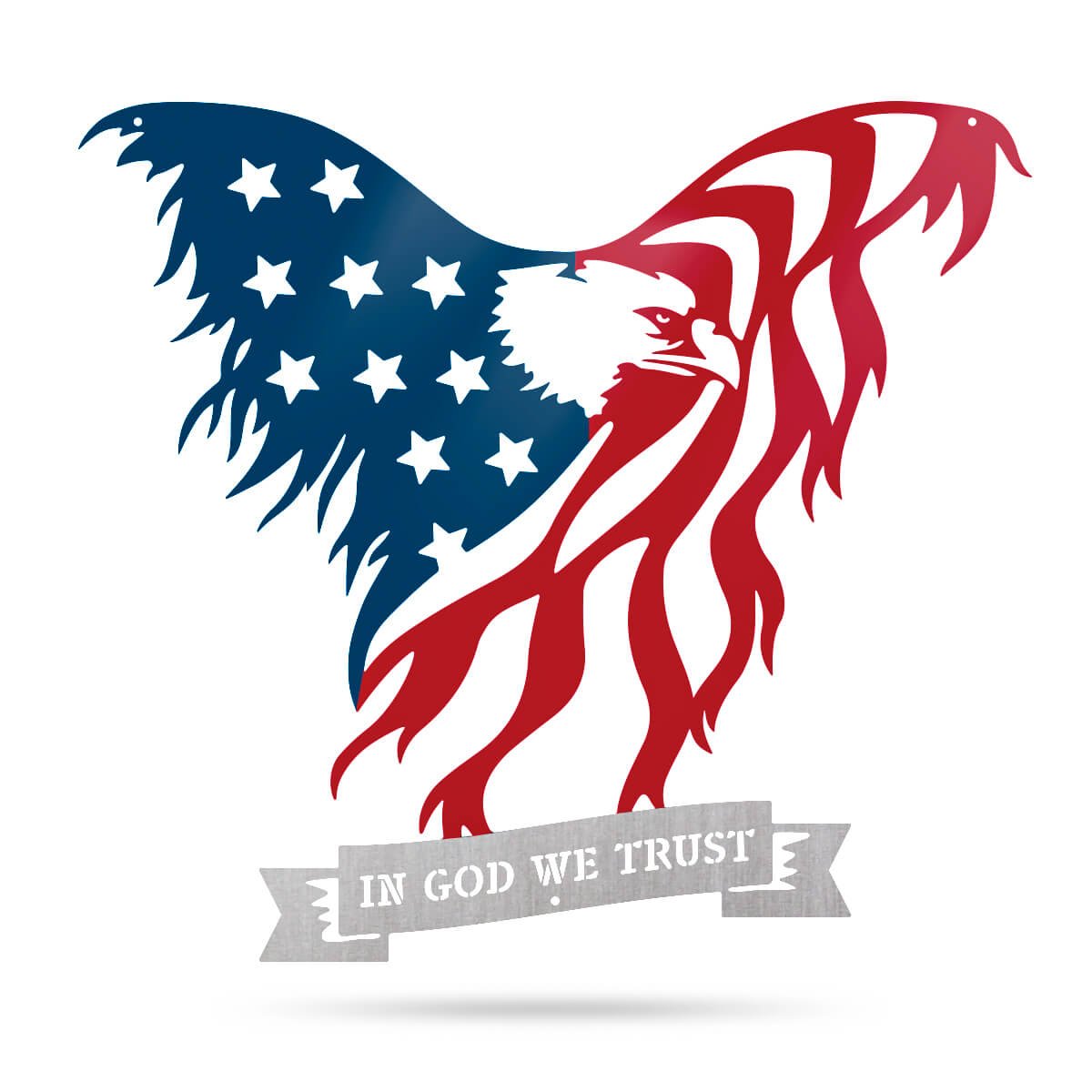 "American Flag Eagle Wall Art 16""x18"" / Blue Red Silver / IN GOD WE TRUST - RealSteel Center"