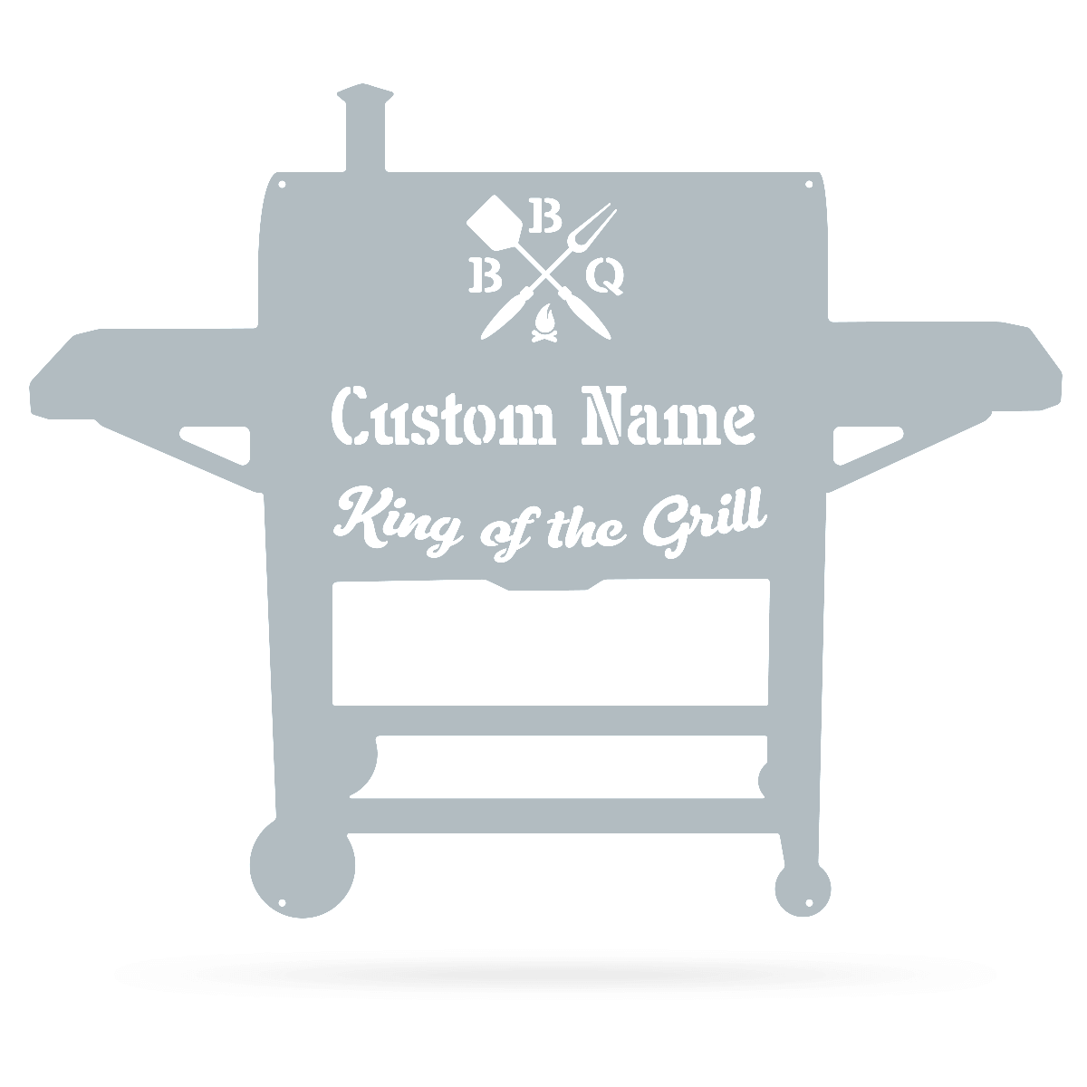 "BBQ Monogram 19""x24"" / Textured Silver - RealSteel Center"