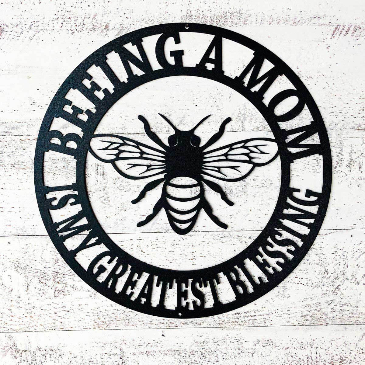 "Beeing A Mom Wall Art 14"" / Black - RealSteel Center"
