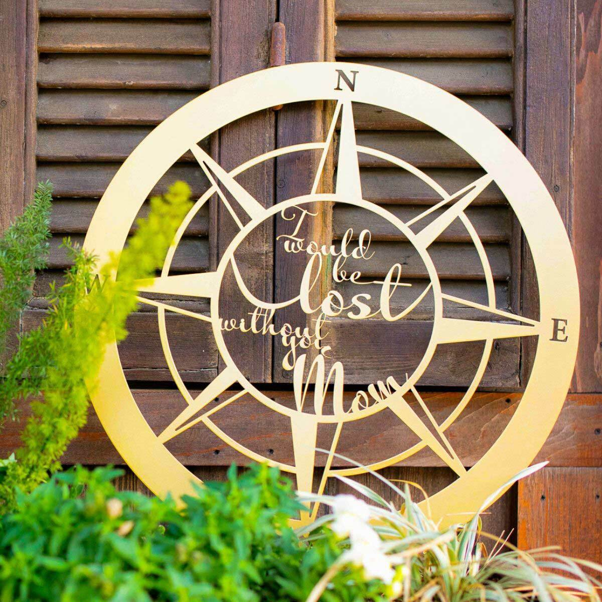 "Lost Without Mom Compass Wall Art - Type B 18"" / Black - RealSteel Center"