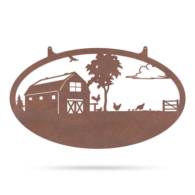 "Choose Your Farm Sign 14""x24"" / Rust / Chicken - RealSteel Center"