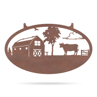 "Choose Your Farm Sign 14""x24"" / Rust / Bull - RealSteel Center"