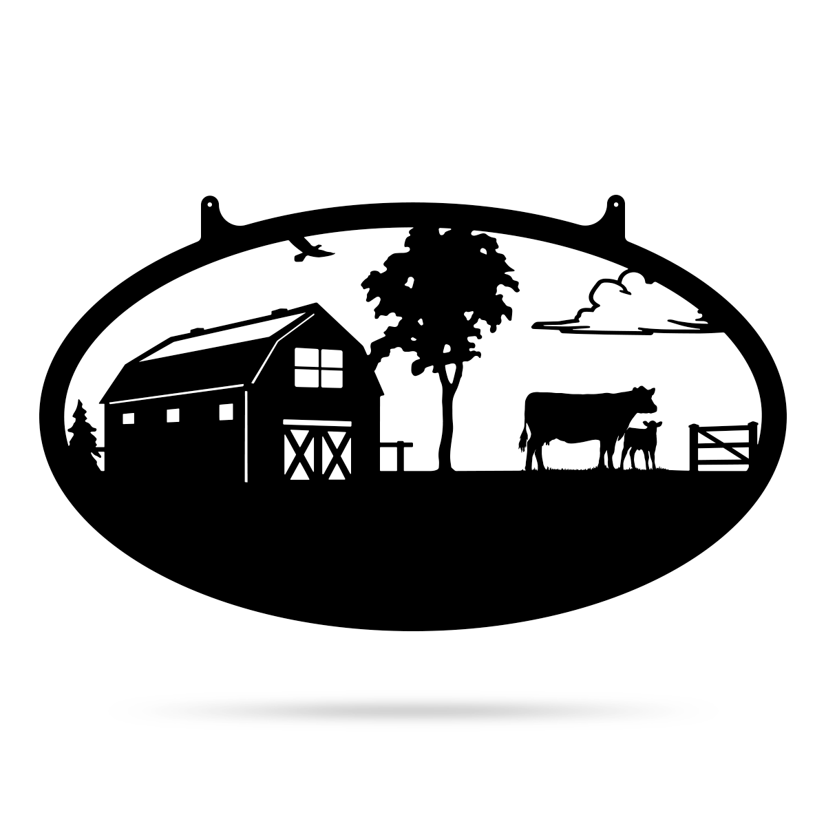 "Choose Your Farm Sign 14""x24"" / Black / Cow and Calf - RealSteel Center"