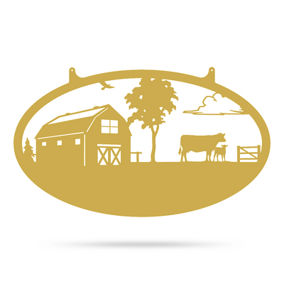 "Choose Your Farm Sign 14""x24"" / Gold / Cow and Calf - RealSteel Center"