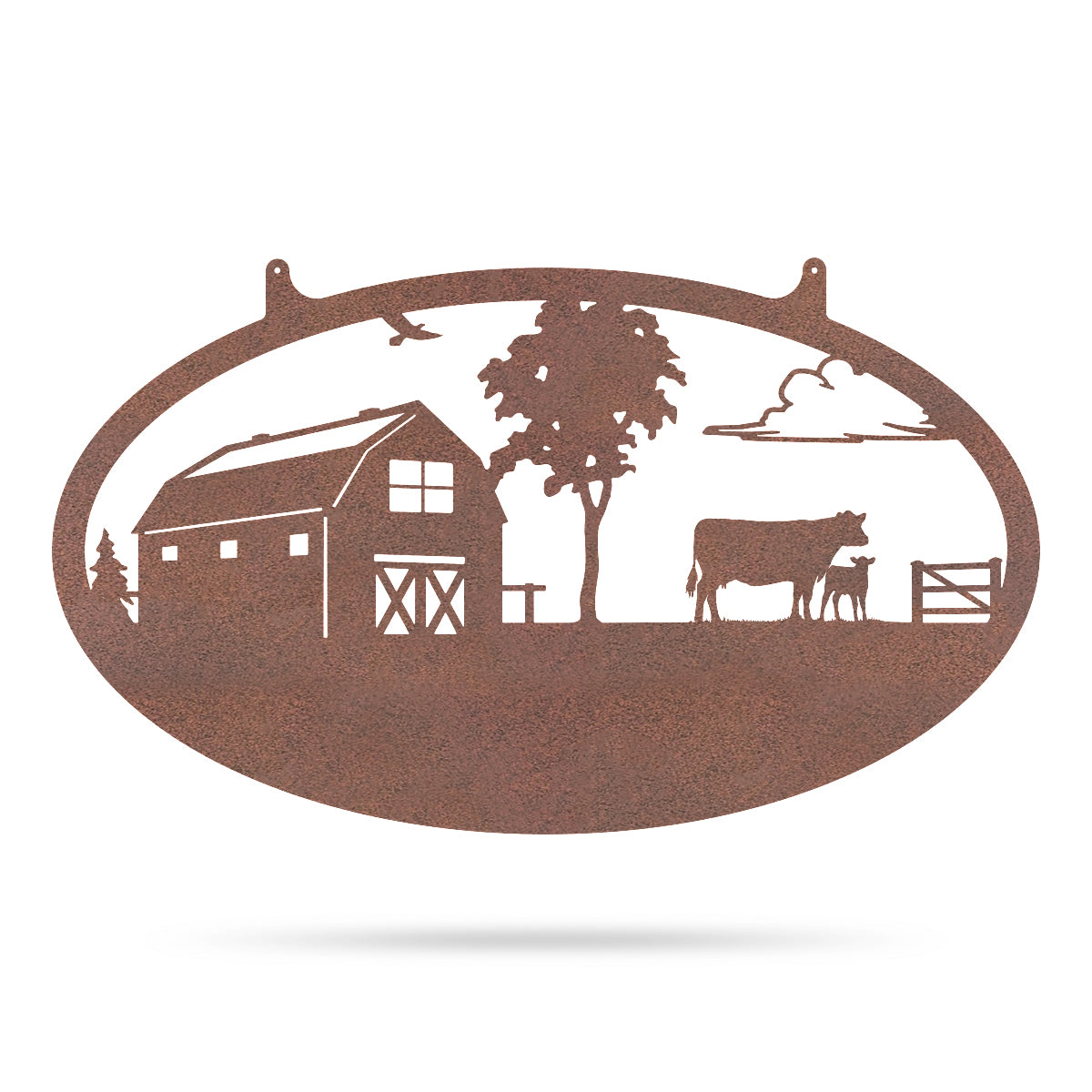 "Choose Your Farm Sign 14""x24"" / Rust / Cow and Calf - RealSteel Center"