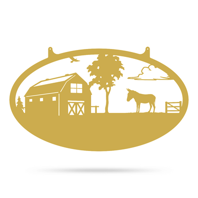 "Choose Your Farm Sign 14""x24"" / Gold / Donkey - RealSteel Center"