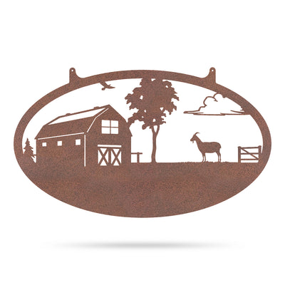 "Choose Your Farm Sign 14""x24"" / Rust / Goat - RealSteel Center"