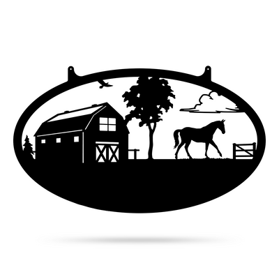 "Choose Your Farm Sign 14""x24"" / Black / Horse - RealSteel Center"