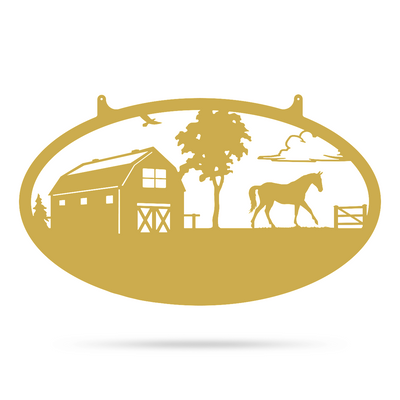 "Choose Your Farm Sign 14""x24"" / Gold / Horse - RealSteel Center"