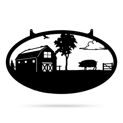 "Choose Your Farm Sign 14""x24"" / Black / Pig - RealSteel Center"