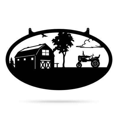 "Choose Your Farm Sign 14""x24"" / Black / Tractor - RealSteel Center"