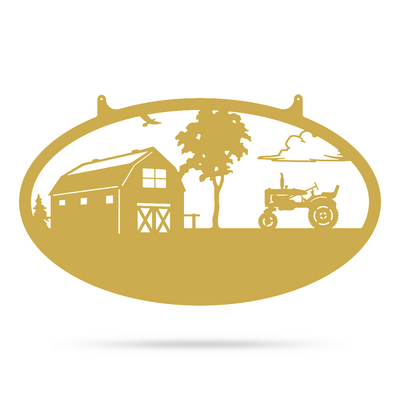 "Choose Your Farm Sign 14""x24"" / Gold / Tractor - RealSteel Center"