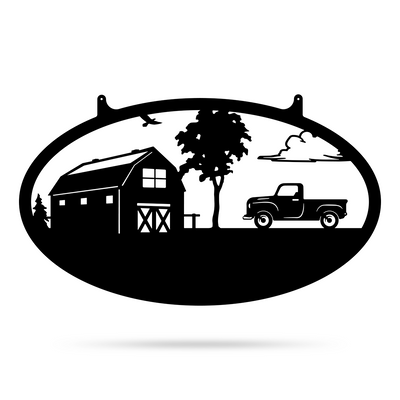 "Choose Your Farm Sign 14""x24"" / Black / Pickup Truck - RealSteel Center"