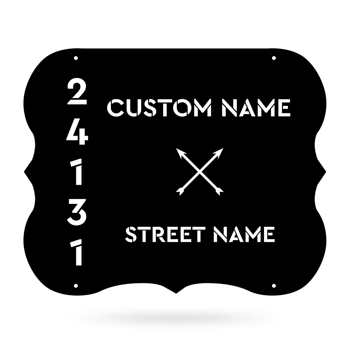 "Elegant Address Monogram 24""x19"" / Black - RealSteel Center"