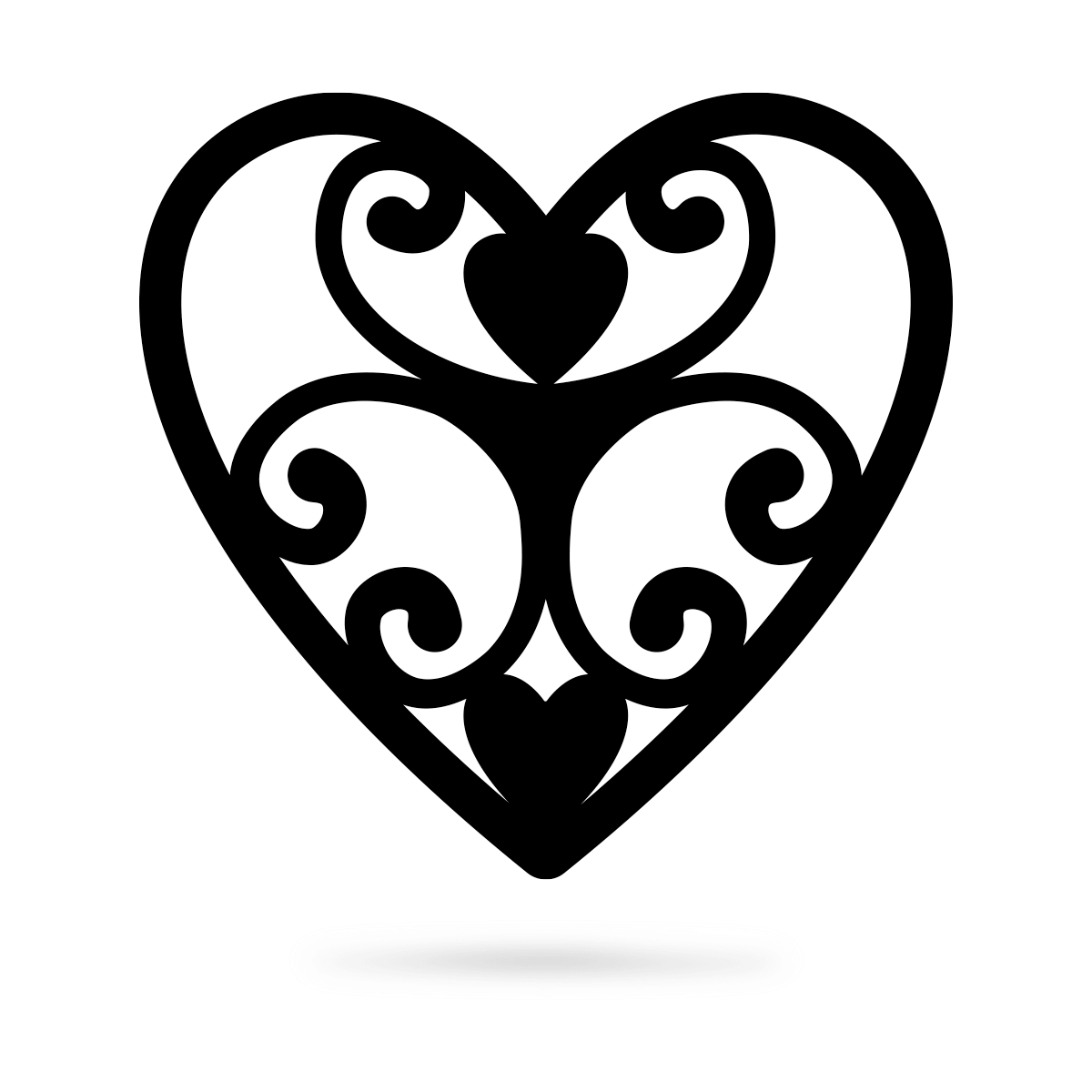 "Elegant Heart Wall Art 12"" / Black - RealSteel Center"