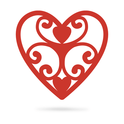 "Elegant Heart Wall Art 12"" / Red - RealSteel Center"