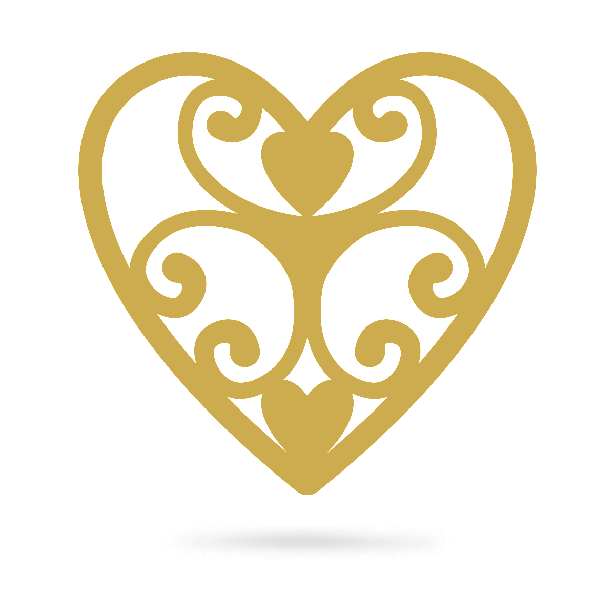 "Elegant Heart Wall Art 12"" / Gold - RealSteel Center"