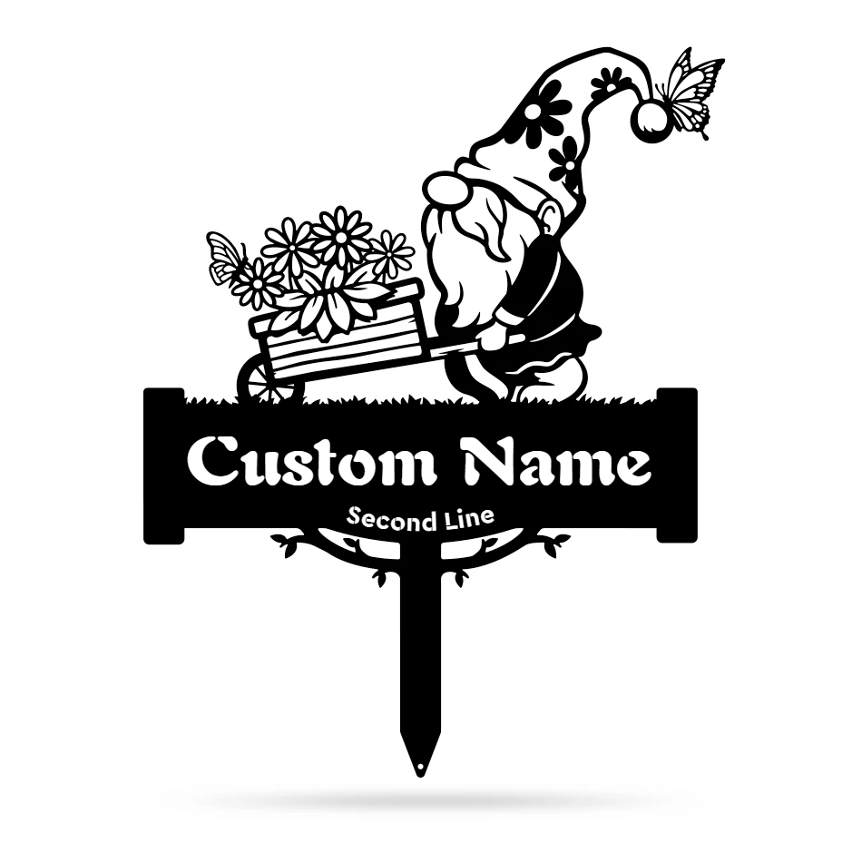 Garden Gnome Monogram Yard Sign  - RealSteel Center