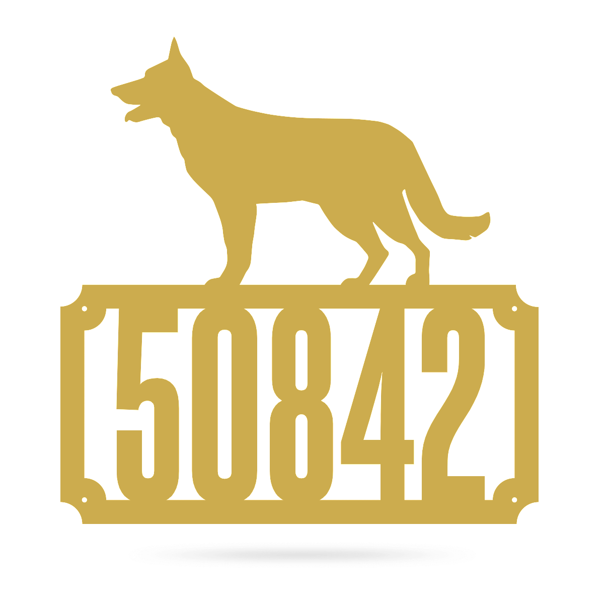 "German Shepherd Home Number Monogram 18""x18"" / Gold - RealSteel Center"