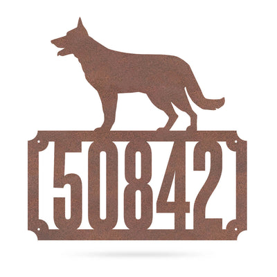 "German Shepherd Home Number Monogram 18""x18"" / Rust - RealSteel Center"