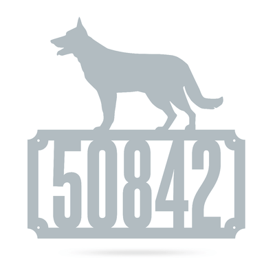 "German Shepherd Home Number Monogram 18""x18"" / Textured Silver - RealSteel Center"