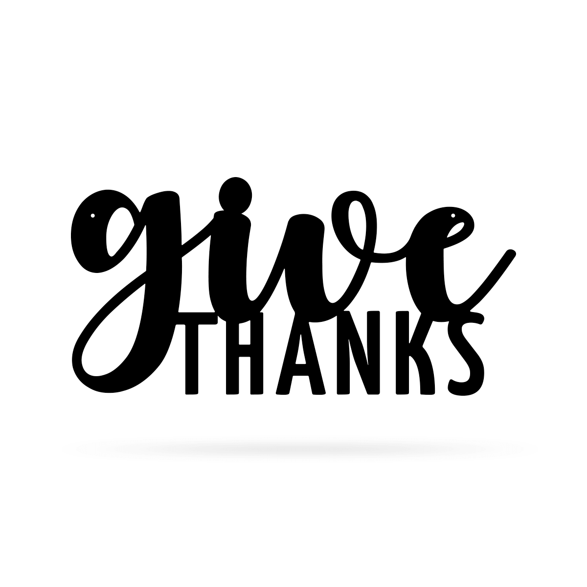 "Give Thanks Wall Art 9""x18"" / Black - RealSteel Center"
