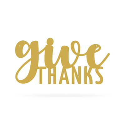 "Give Thanks Wall Art 9""x18"" / Gold - RealSteel Center"