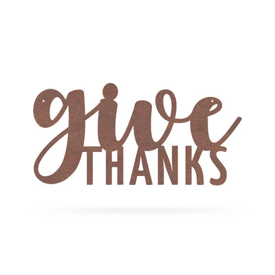 "Give Thanks Wall Art 9""x18"" / Rust - RealSteel Center"