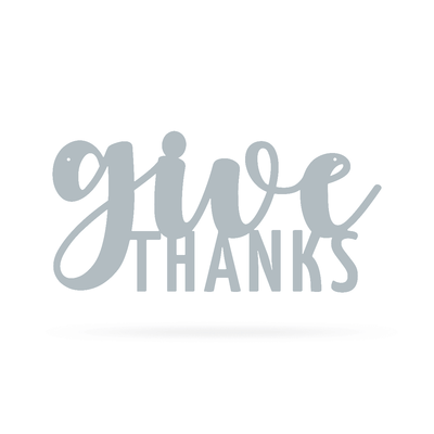 "Give Thanks Wall Art 9""x18"" / Textured Silver - RealSteel Center"