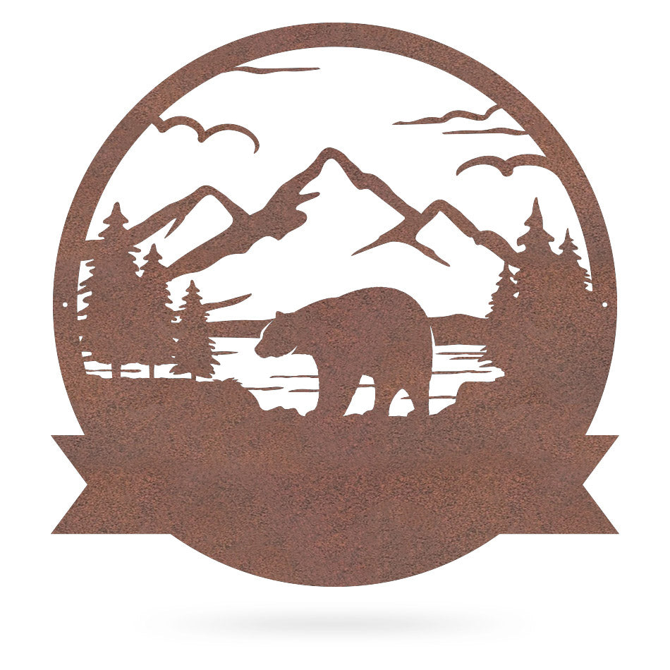 "Great Outdoors Bear Monogram 20""x20"" / Rust - RealSteel Center"